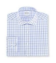 Eagle® Men's Blue Grid Regular Fit Long Sleeve Dress Shirt