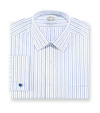 Eagle® Men's Blue Ocean Check Stripe Regular Fit Long Sleeve Dress Shirt