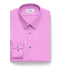Calvin Klein Men's Petal Purple Slim Fit Long Sleeve Dress Shirt