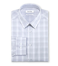 Calvin Klein Men's Grey Plaid Long Sleeve Dress Shirt