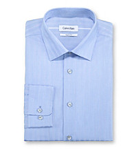 Calvin Klein Men's Blue Regular Fit Long Sleeve Dress Shirt