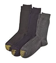 GOLD TOE® Men's Charcoal/Navy/Black 3-Pack Palladium Crew Socks