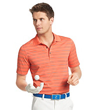 Izod® Men's Living Coral Striped Grid Polo