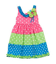 Rare Editions® Baby Girls' Fuchsia/Lime/Blue Polka-Dot Dress