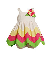Bonnie Jean® Baby Girls' White/Pink/Green Zig-Zag Hanky Dress