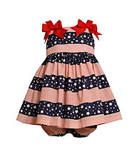 Bonnie Jean® Baby Girls' Red/Navy Americana Bow Shoulder Dress