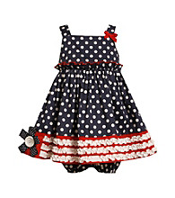 Bonnie Jean® Baby Girls' Navy/Red Americana Ruched Dress