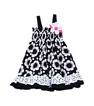 Rare Editions® Baby Girls' Black/White Floral Smock Dress
