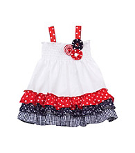 Rare Editions® Baby Girls' White/Red/Navy Seersucker Dress
