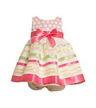 Bonnie Jean® Baby Girls' Ivory/Pink Ribbon Striped Dress