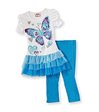 Beautees Girls' 4-6X Blue/White Butterfly Tutu Set