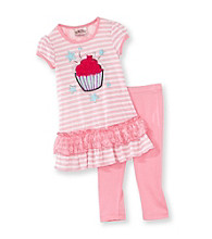 Beautees Girls' 4-6X Pink 3D Cupcake Leggings Set