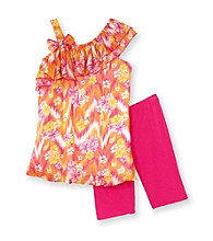 Tempted Girls' 4-6X Pink/Orange Cold Shoulder Hibiscus Ruffled Set