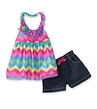 Nannette® Girls' 2T-6X Blue ZigZag Halter with Denim Shorts Set