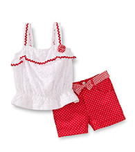 Nannette® Girls' 2T-6X White/Coral Lace Top with Dot Shorts