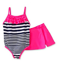Carter's® Girls' 2T-4T Neon Pink/Navy Striped Skirted Swimsuit