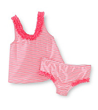 Carter's® Girls' 2T-6X Neon Coral Striped Tankini Set