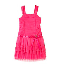 Amy Byer Girls' 7-16 Pink Pink Tiered Drop Waist Dress