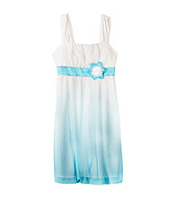 Amy Byer Girls' 7-16 White/Teal Ombre Sparkle Dress