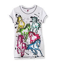 Beautees Girls' 7-16 White Neon Horse Screen Tee