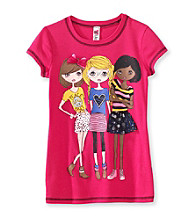 Beautees Girls' 7-16 Pink Short Sleeve 3 Girls Screen Tee