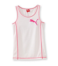 PUMA® Girls' 7-16 White Puma Tank with Pink Stitching