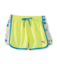 PUMA® Girls' 7-16 Neon Yellow Shorts with Dot Print Insert