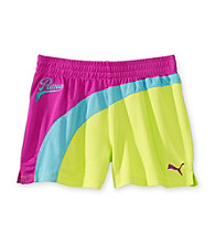PUMA® Girls' 7-16 Purple/Yellow Mesh Shorts