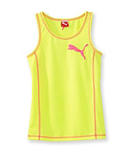 PUMA® Girls' 7-16 Neon Yellow Tank with Pink Stitching