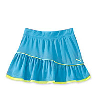 PUMA® Girls' 7-16 Blue Skort with Neon Yellow Accents