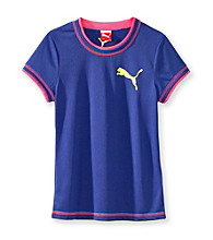 PUMA® Girls' 7-16 Blue Tee with Pink Stitching