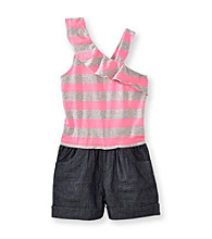 Squeeze® Girls' 4-14 Pink/Grey Striped Romper
