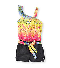 Squeeze® Girls' 4-16 Yellow/Pink Denim Romper