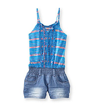 Squeeze® Girls' 7-16 Blue Spacedye Ruffle Strap Romper