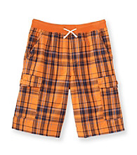 Ruff Hewn Boys' 8-20 Drawstring Rib Waistband Plaid Cargo Shorts