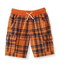 Ruff Hewn Boys' 2T-7 Drawstring Rib Waistband Plaid Cargo Shorts