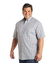 Harbor Bay® Men's Big & Tall Blue/Tan Short Sleeve Gingham Plaid Woven