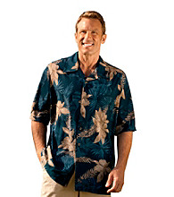 Island Passport® Men's Big & Tall Blue Short Sleeve Floral Camp Shirt