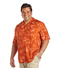 Island Passport® Men's Big & Tall Apricot Tonal Floral Print Shirt