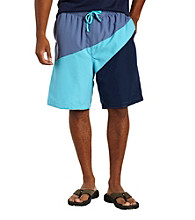 Island Passport® Men's Big & Tall Gray Colorblock Wave Board Short