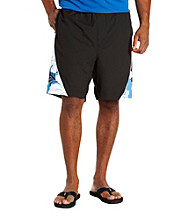 Harbor Bay® Men's Big & Tall Black Hibiscus Colorblock Swim Trunk
