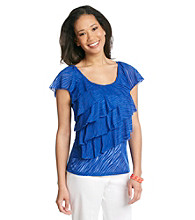 AGB® Ruffled Burnout Top