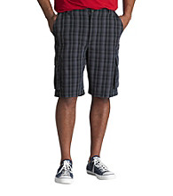 True Nation™ Men's Big & Tall Black Plaid Cargo Short