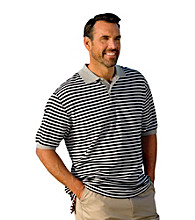Oak Hill® Men's Big & Tall Black/White Contrast Stipe Polo