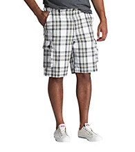 True Nation™ Men's Big & Tall White Ripstop Plaid Cargo Short