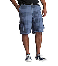 True Nation™ Men's Big & Tall Navy Ripstop Plaid Cargo Short
