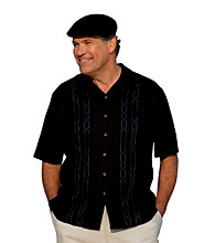 Island Passport® Men's Big & Tall Black Short Sleeve Embroidered Panel Woven