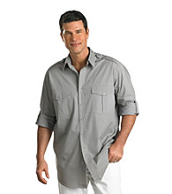 Synrgy Men's Big & Tall Frost Grey Roll-Sleeve Military Pilot Shirt