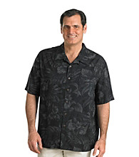 Island Passport® Men's Big & Tall Black Short Sleeve Tonal Floral Print Shirt