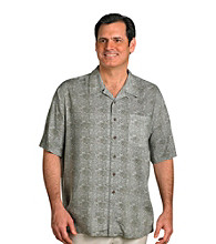 Island Passport® Men's Big & Tall Green Short Sleeve Batik Print Shirt